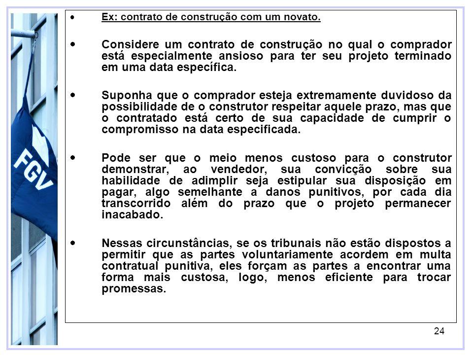24 Ex: contrato de construção com um novato.