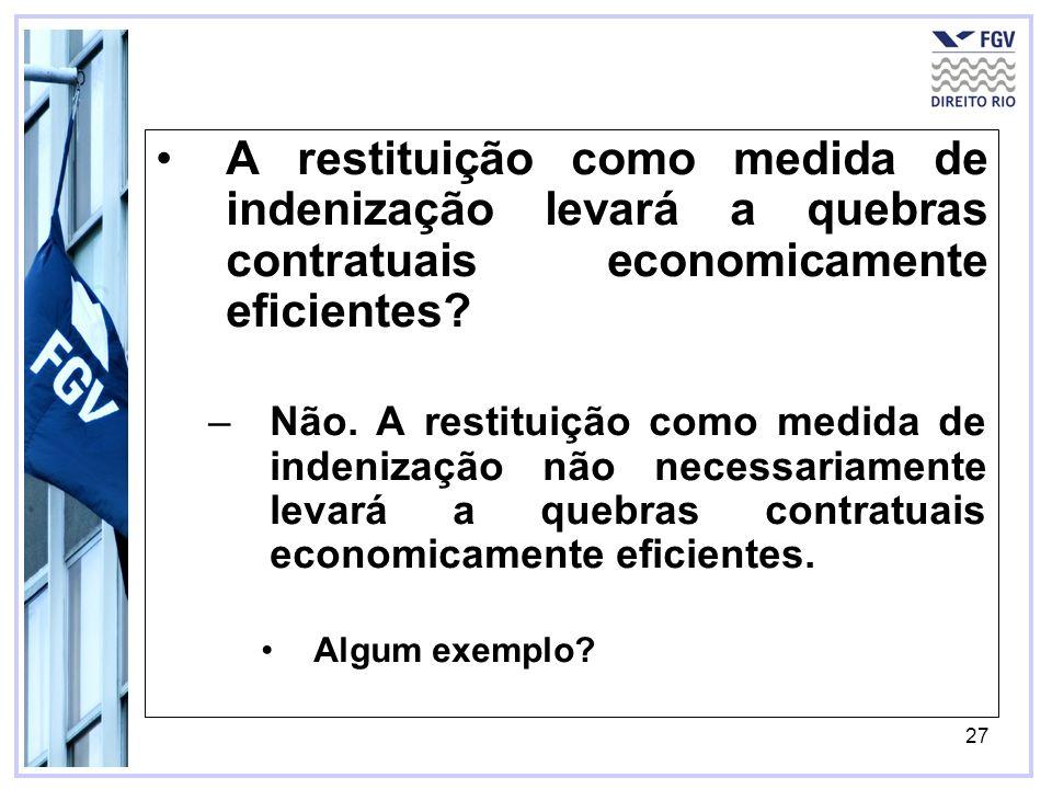 27 A restituição como medida de indenização levará a quebras contratuais economicamente eficientes.