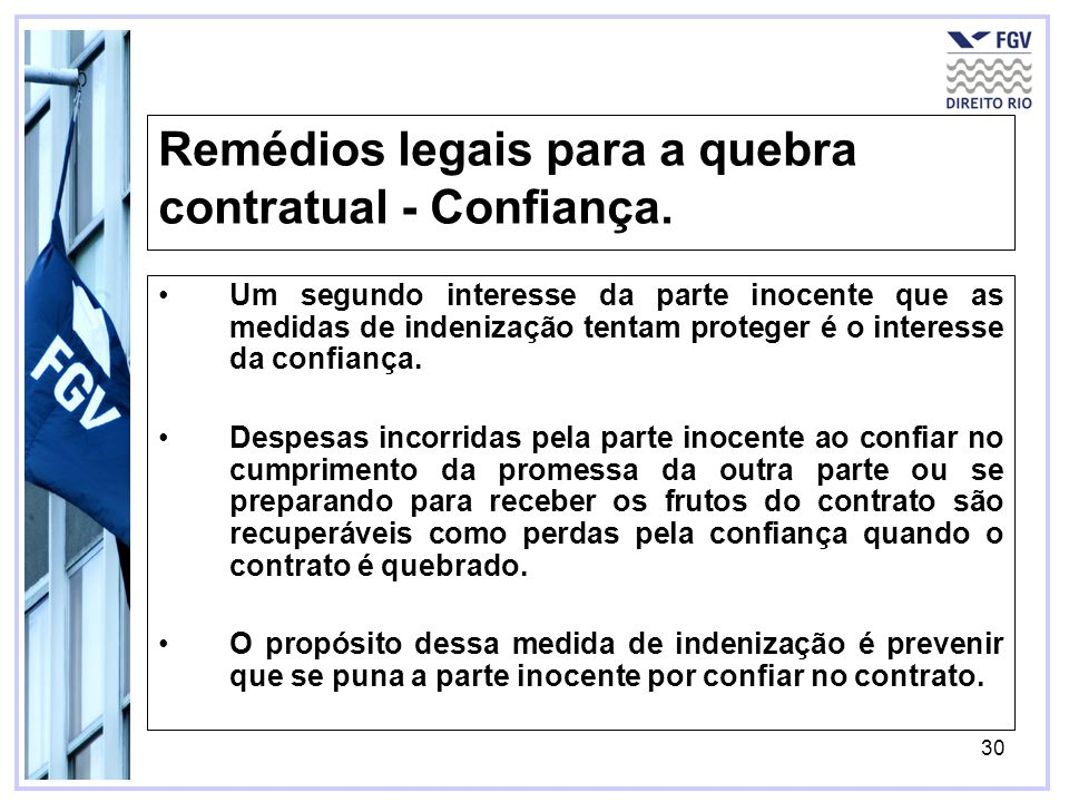 30 Remédios legais para a quebra contratual - Confiança.