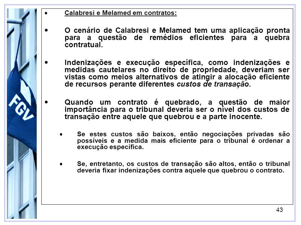 43 Calabresi e Melamed em contratos: O cenário de Calabresi e Melamed tem uma aplicação pronta para a questão de remédios eficientes para a quebra contratual.