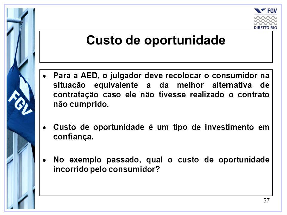 57 Custo de oportunidade Para a AED, o julgador deve recolocar o consumidor na situação equivalente a da melhor alternativa de contratação caso ele não tivesse realizado o contrato não cumprido.
