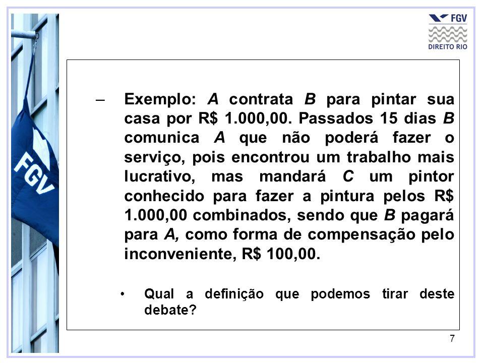 7 –Exemplo: A contrata B para pintar sua casa por R$ 1.000,00.