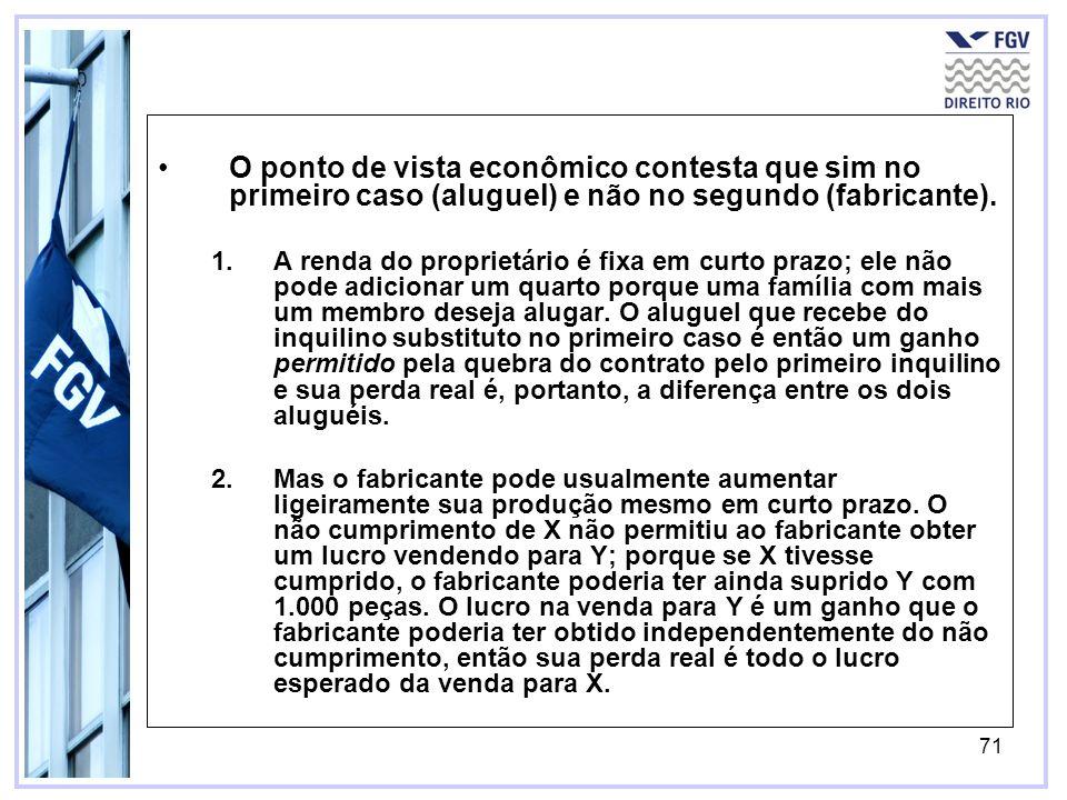 71 O ponto de vista econômico contesta que sim no primeiro caso (aluguel) e não no segundo (fabricante).