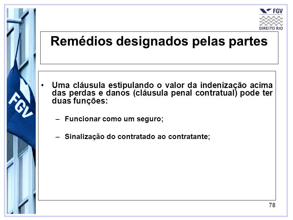 78 Remédios designados pelas partes Uma cláusula estipulando o valor da indenização acima das perdas e danos (cláusula penal contratual) pode ter duas funções: –Funcionar como um seguro; –Sinalização do contratado ao contratante;