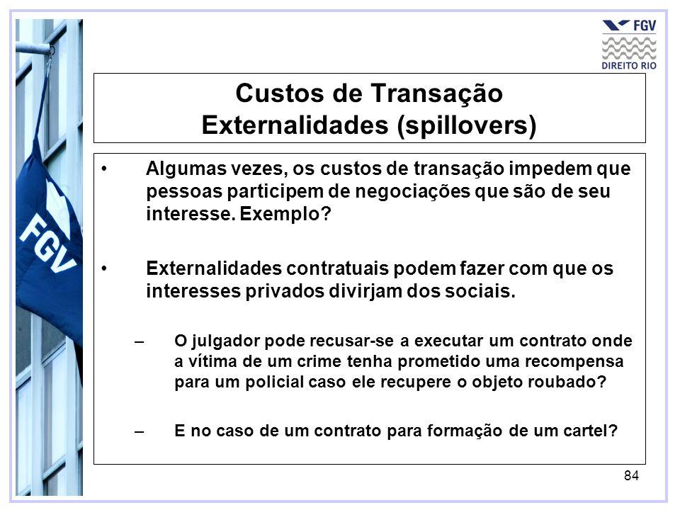 84 Custos de Transação Externalidades (spillovers) Algumas vezes, os custos de transação impedem que pessoas participem de negociações que são de seu interesse.