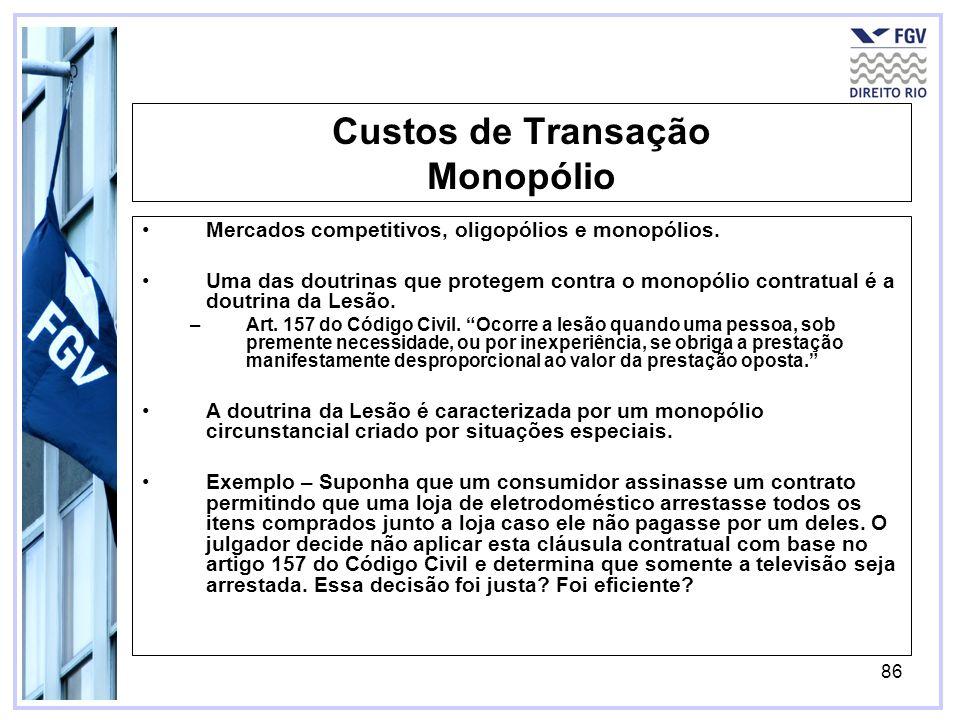 86 Custos de Transação Monopólio Mercados competitivos, oligopólios e monopólios.