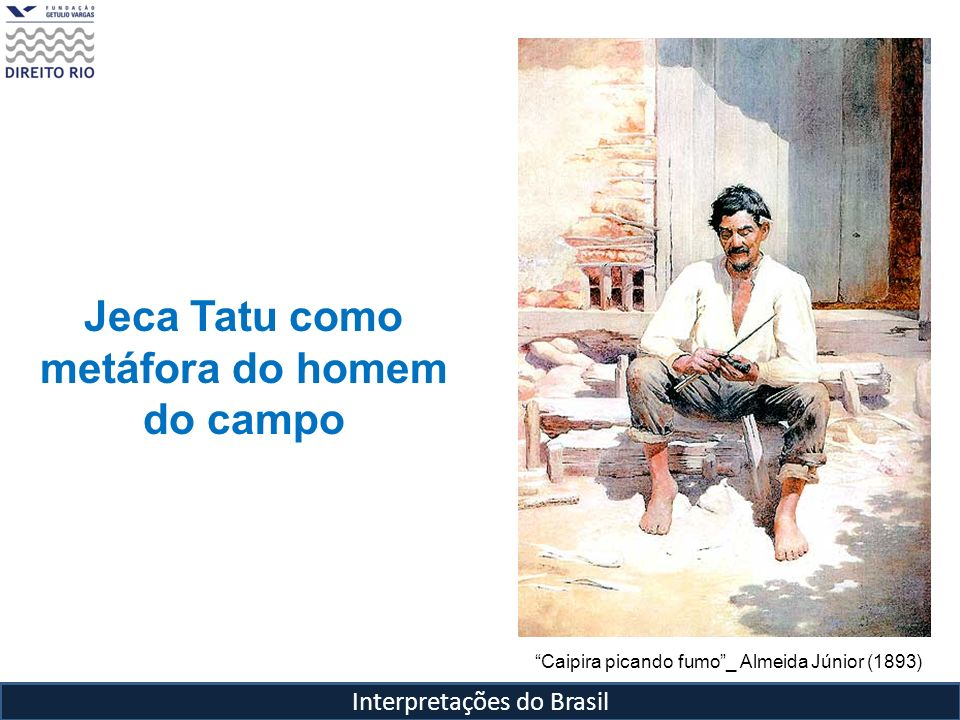 Interpretações do Brasil Jeca Tatu como metáfora do homem do campo Caipira picando fumo_ Almeida Júnior (1893)