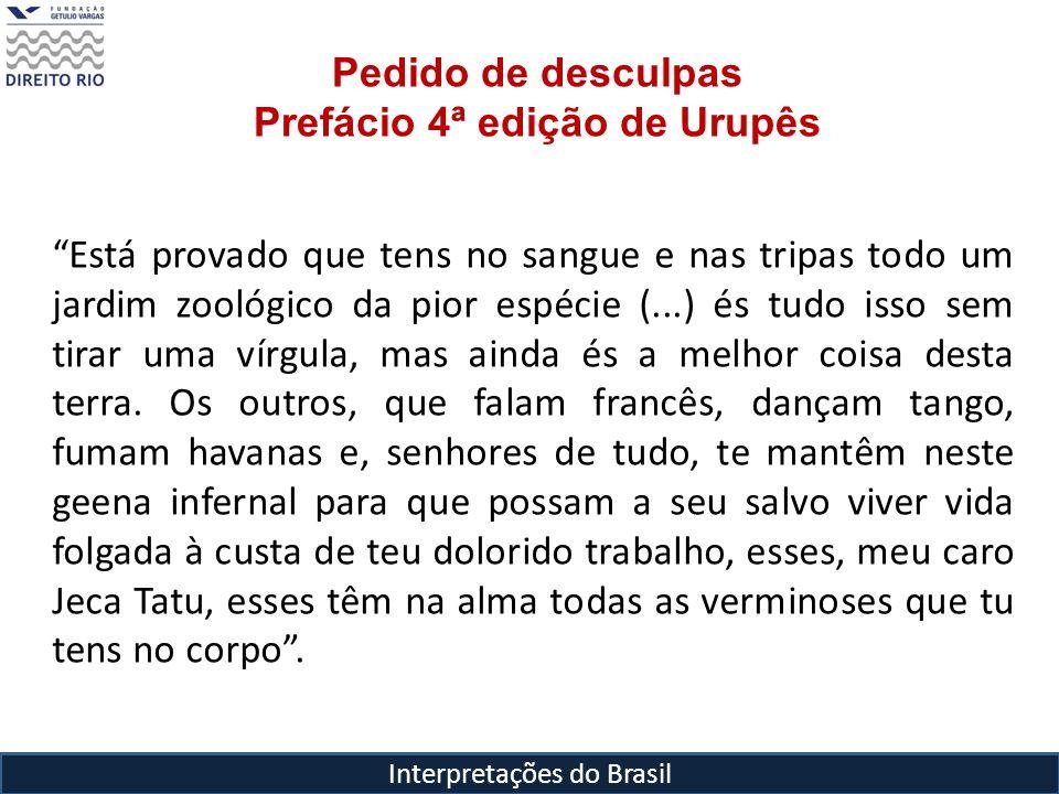 Interpretações do Brasil Pedido de desculpas Prefácio 4ª edição de Urupês Está provado que tens no sangue e nas tripas todo um jardim zoológico da pio