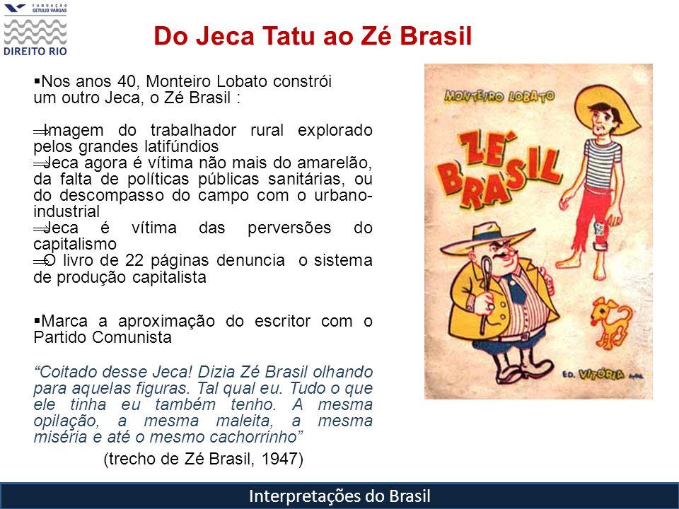 Interpretações do Brasil Nos anos 40, Monteiro Lobato constrói um outro Jeca, o Zé Brasil : Imagem do trabalhador rural explorado pelos grandes latifú