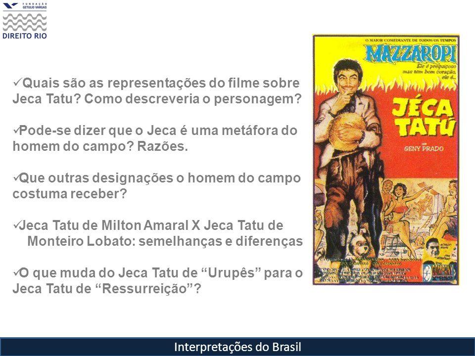 Interpretações do Brasil Quais são as representações do filme sobre Jeca Tatu? Como descreveria o personagem? Pode-se dizer que o Jeca é uma metáfora