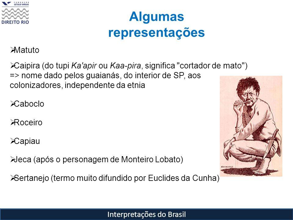 Interpretações do Brasil Algumas representações Matuto Caipira (do tupi Ka'apir ou Kaa-pira, significa