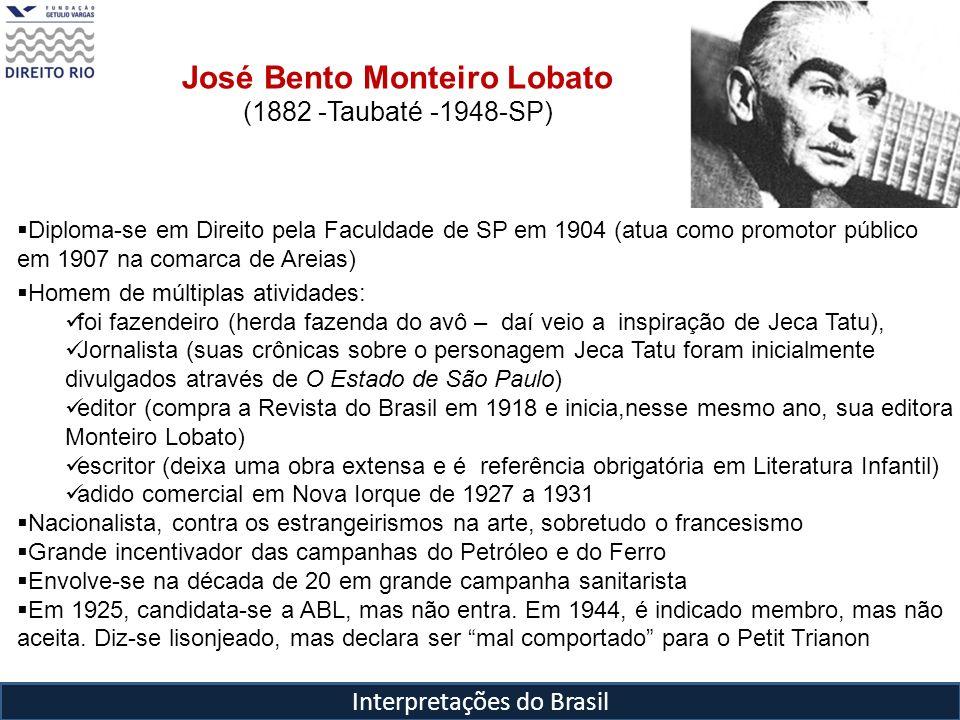 Interpretações do Brasil José Bento Monteiro Lobato (1882 -Taubaté -1948-SP) Diploma-se em Direito pela Faculdade de SP em 1904 (atua como promotor pú