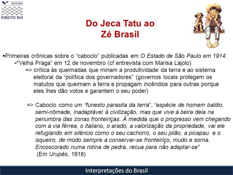 Interpretações do Brasil Do Jeca Tatu ao Zé Brasil Primeiras crônicas sobre o caboclo publicadas em O Estado de São Paulo em 1914: Velha Praga em 12 d