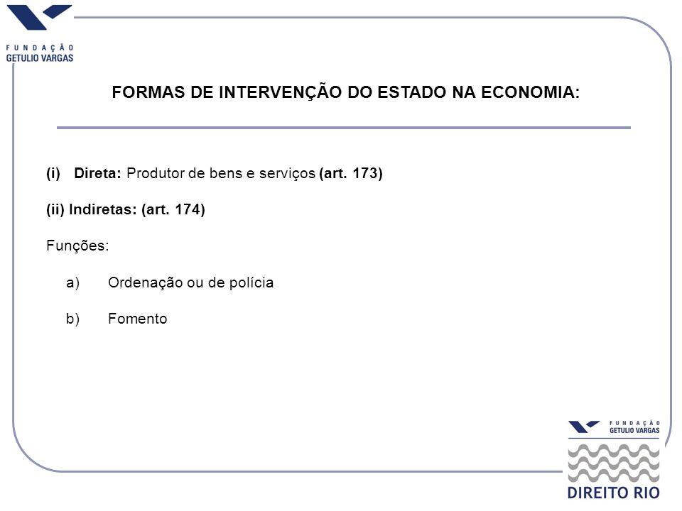 FORMAS DE INTERVENÇÃO DO ESTADO NA ECONOMIA: (i)Direta: Produtor de bens e serviços (art. 173) (ii) Indiretas: (art. 174) Funções: a)Ordenação ou de p