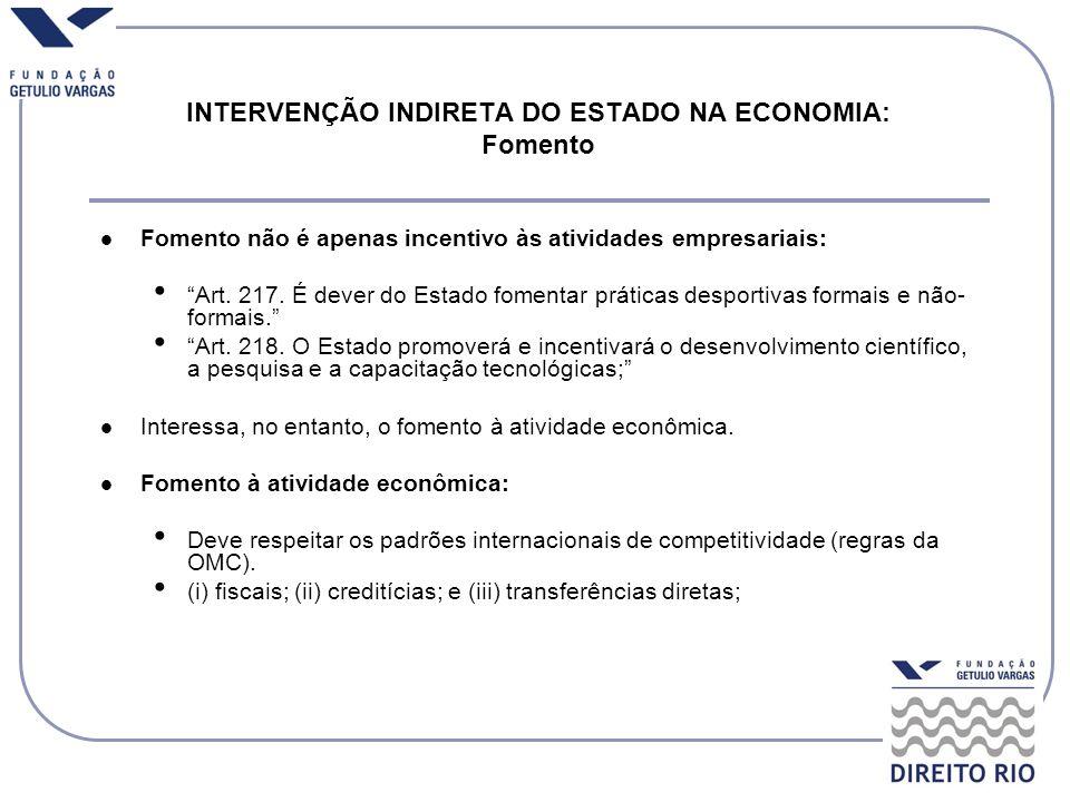 Fomento não é apenas incentivo às atividades empresariais: Art. 217. É dever do Estado fomentar práticas desportivas formais e não- formais. Art. 218.