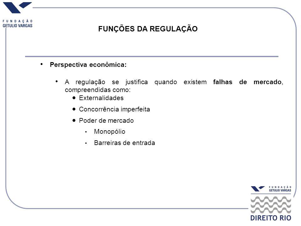Perspectiva econômica: A regulação se justifica quando existem falhas de mercado, compreendidas como: Externalidades Concorrência imperfeita Poder de