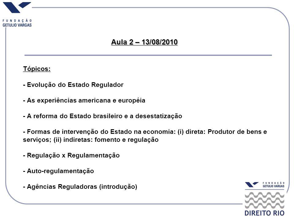 Aula 2 – 13/08/2010 Tópicos: - Aula 2 – 13/08/2010 Tópicos: - Evolução do Estado Regulador - As experiências americana e européia - A reforma do Estad