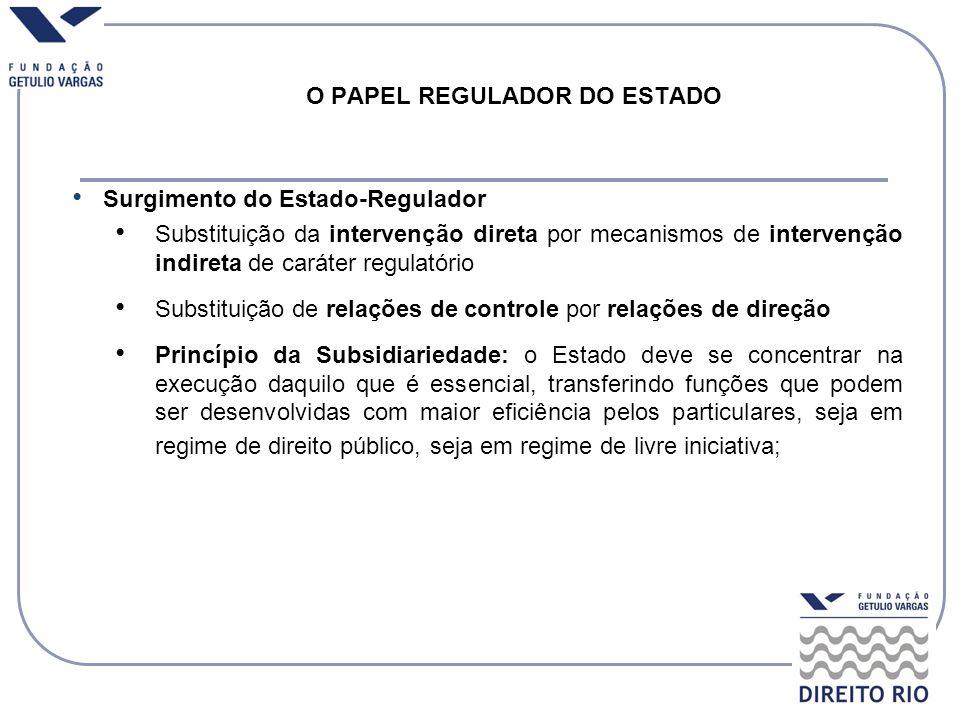 O PAPEL REGULADOR DO ESTADO Surgimento do Estado-Regulador Substituição da intervenção direta por mecanismos de intervenção indireta de caráter regula
