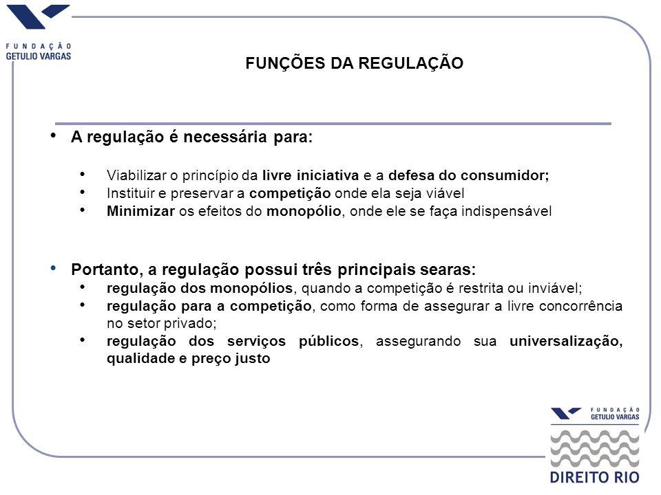 FUNÇÕES DA REGULAÇÃO A regulação é necessária para: Viabilizar o princípio da livre iniciativa e a defesa do consumidor; Instituir e preservar a compe