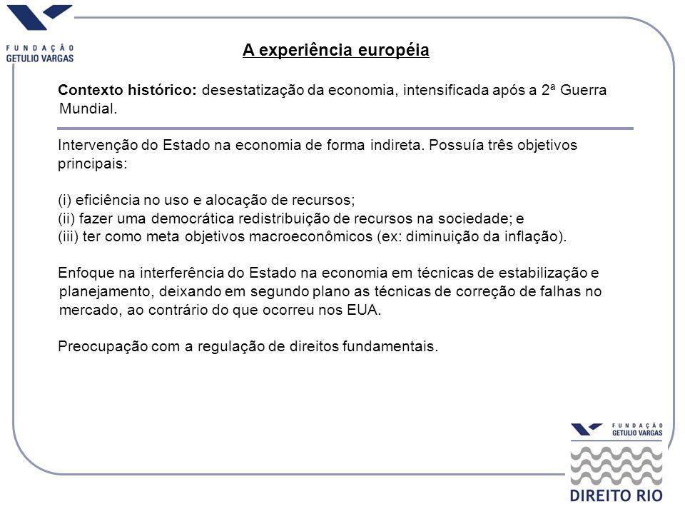 A experiência européia Contexto histórico: desestatização da economia, intensificada após a 2ª Guerra Mundial. Intervenção do Estado na economia de fo
