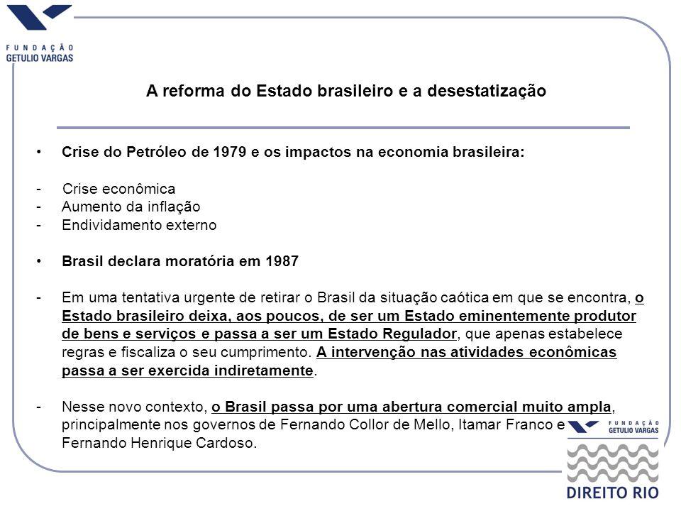 A reforma do Estado brasileiro e a desestatização Crise do Petróleo de 1979 e os impactos na economia brasileira: - Crise econômica -Aumento da inflaç