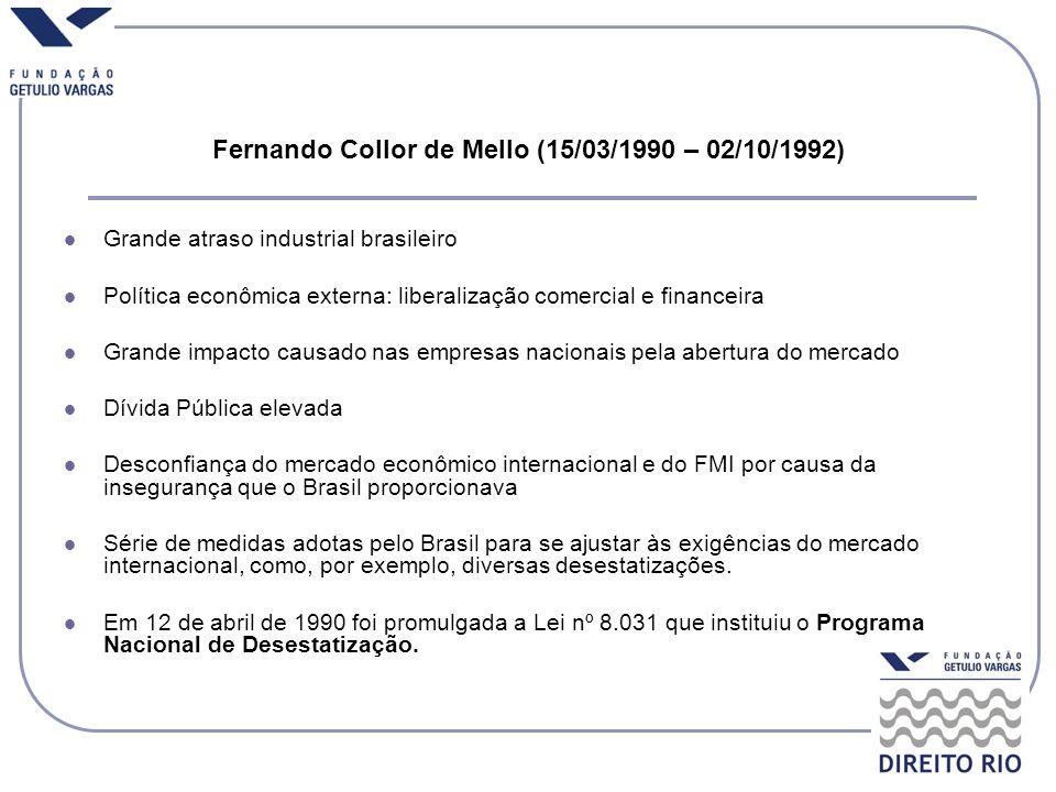 Fernando Collor de Mello (15/03/1990 – 02/10/1992) Grande atraso industrial brasileiro Política econômica externa: liberalização comercial e financeir