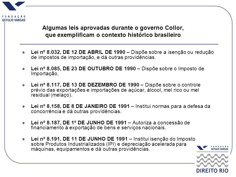 Algumas leis aprovadas durante o governo Collor, que exemplificam o contexto histórico brasileiro Lei nº 8.032, DE 12 DE ABRIL DE 1990 – Dispõe sobre