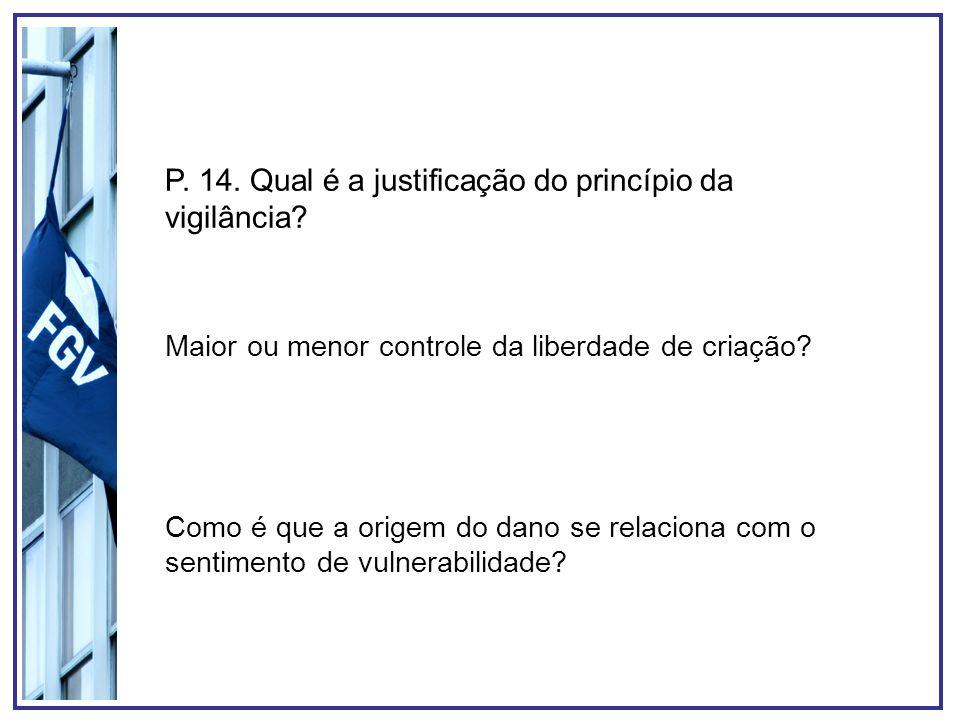 P. 14. Qual é a justificação do princípio da vigilância? Maior ou menor controle da liberdade de criação? Como é que a origem do dano se relaciona com