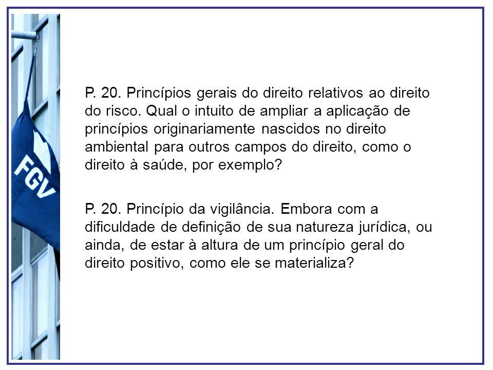 P. 20. Princípios gerais do direito relativos ao direito do risco. Qual o intuito de ampliar a aplicação de princípios originariamente nascidos no dir