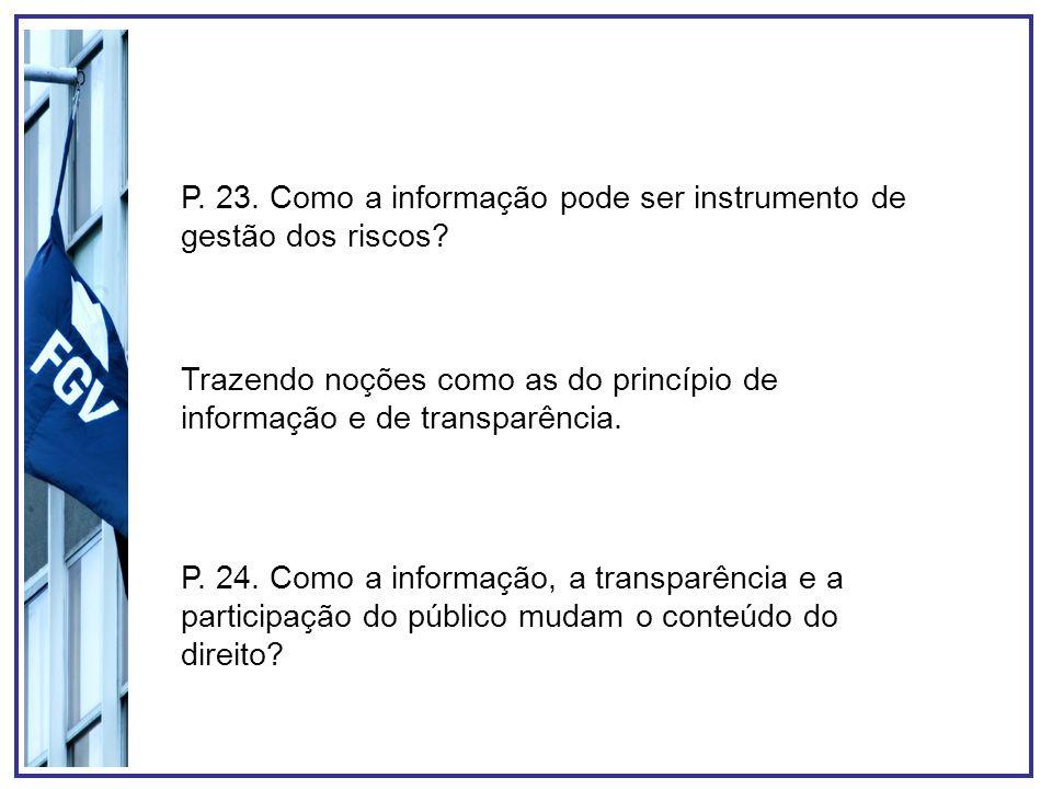 P. 23. Como a informação pode ser instrumento de gestão dos riscos? Trazendo noções como as do princípio de informação e de transparência. P. 24. Como
