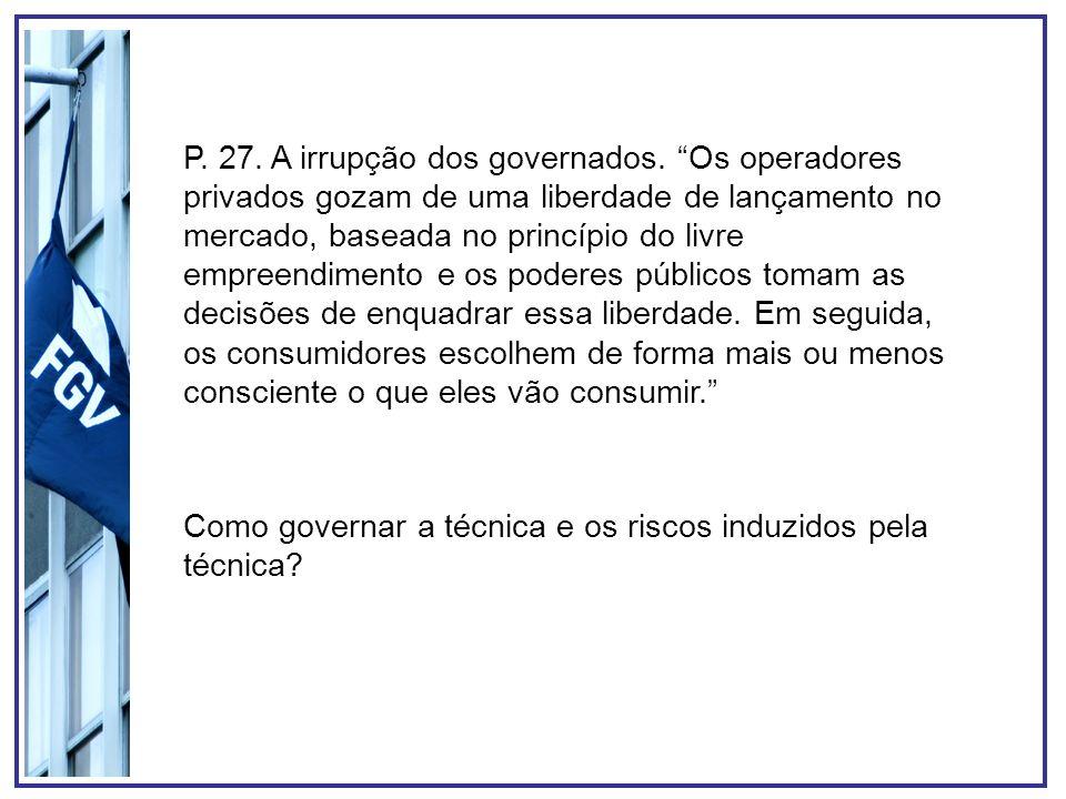P. 27. A irrupção dos governados. Os operadores privados gozam de uma liberdade de lançamento no mercado, baseada no princípio do livre empreendimento