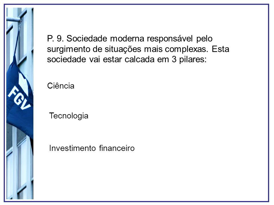 P. 9. Sociedade moderna responsável pelo surgimento de situações mais complexas. Esta sociedade vai estar calcada em 3 pilares: Ciência Tecnologia Inv