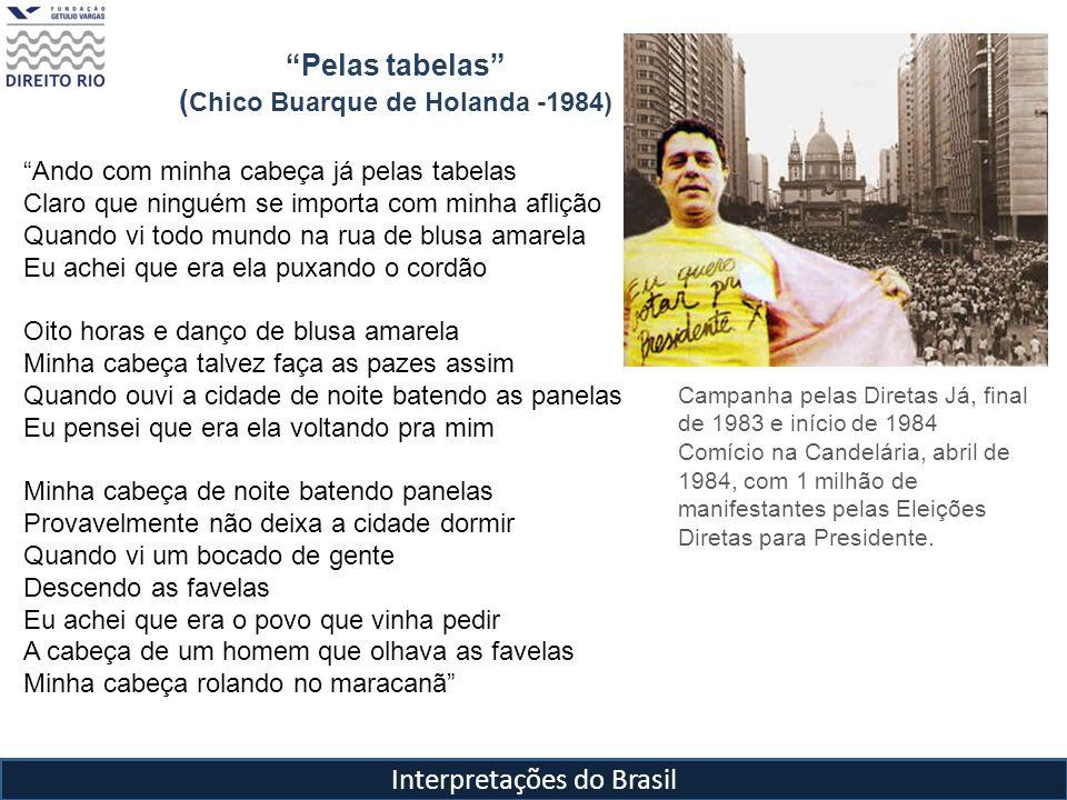 Interpretações do Brasil Pelas tabelas ( Chico Buarque de Holanda -1984) Ando com minha cabeça já pelas tabelas Claro que ninguém se importa com minha