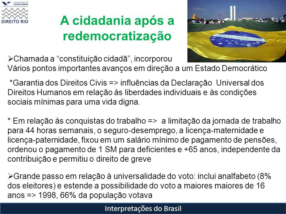 Interpretações do Brasil A cidadania após a redemocratização Chamada a constituição cidadã, incorporou Vários pontos importantes avanços em direção a