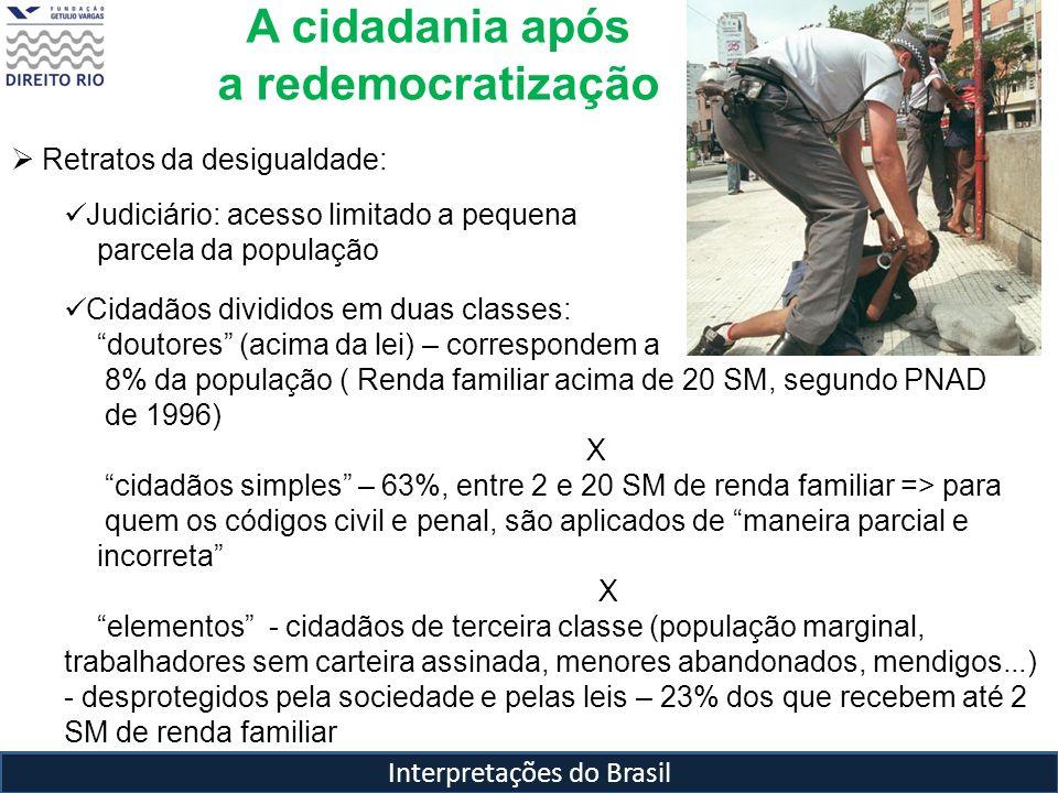 Interpretações do Brasil Retratos da desigualdade: Judiciário: acesso limitado a pequena parcela da população Cidadãos divididos em duas classes: dout