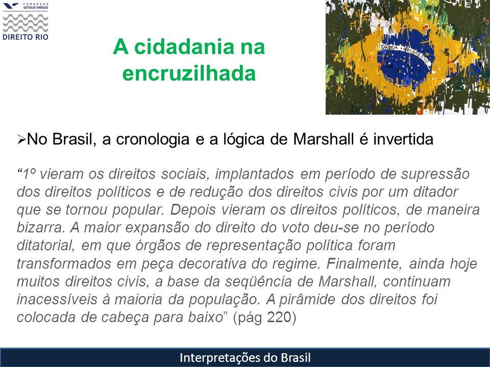 Interpretações do Brasil A cidadania na encruzilhada No Brasil, a cronologia e a lógica de Marshall é invertida 1º vieram os direitos sociais, implant