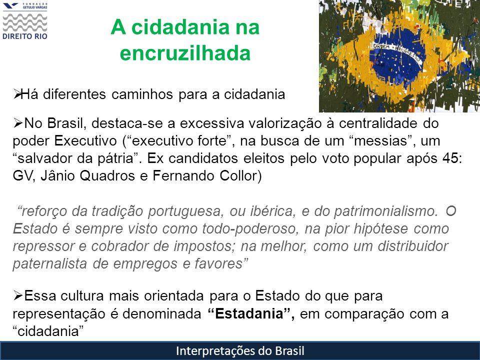 Interpretações do Brasil A cidadania na encruzilhada Há diferentes caminhos para a cidadania No Brasil, destaca-se a excessiva valorização à centralid
