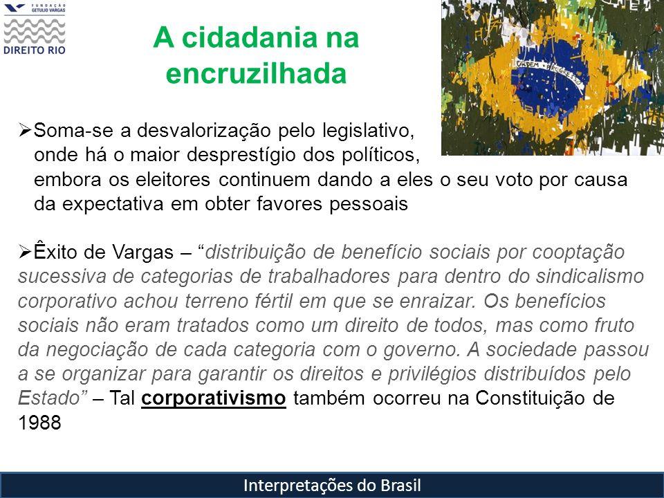 Interpretações do Brasil A cidadania na encruzilhada Soma-se a desvalorização pelo legislativo, onde há o maior desprestígio dos políticos, embora os