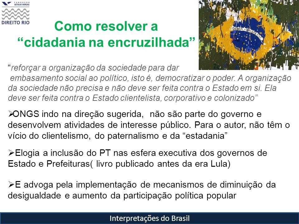 Interpretações do Brasil Como resolver a cidadania na encruzilhada reforçar a organização da sociedade para dar embasamento social ao político, isto é