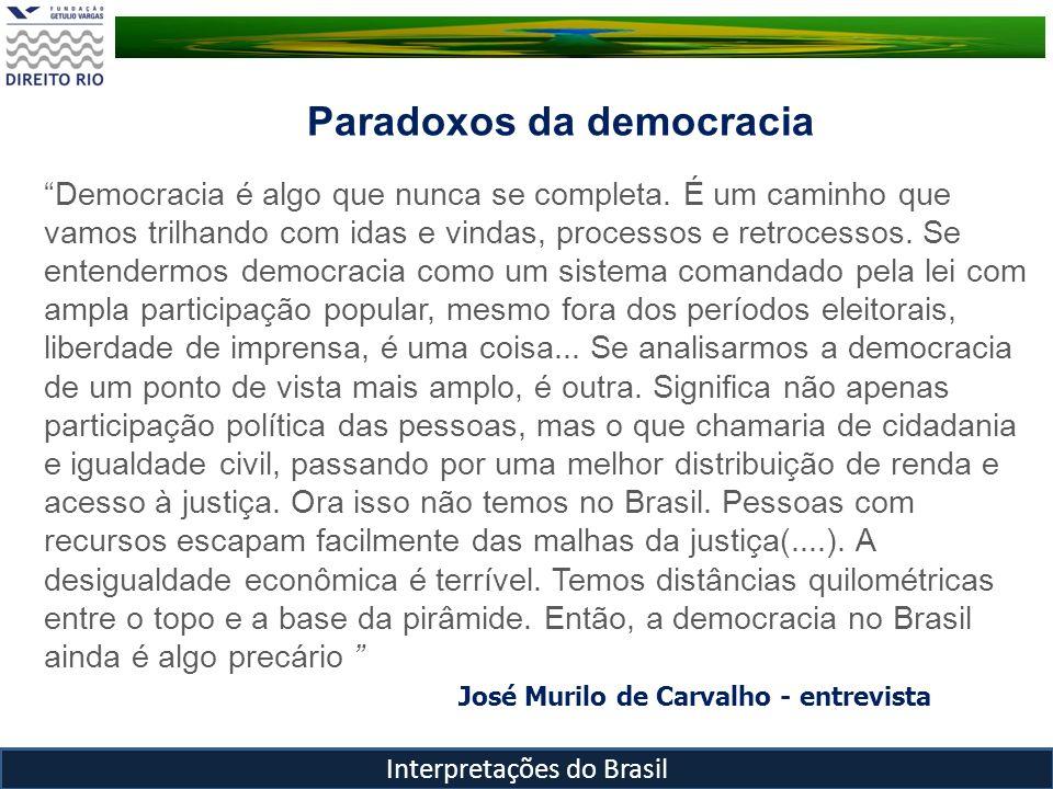 Interpretações do Brasil Democracia é algo que nunca se completa. É um caminho que vamos trilhando com idas e vindas, processos e retrocessos. Se ente