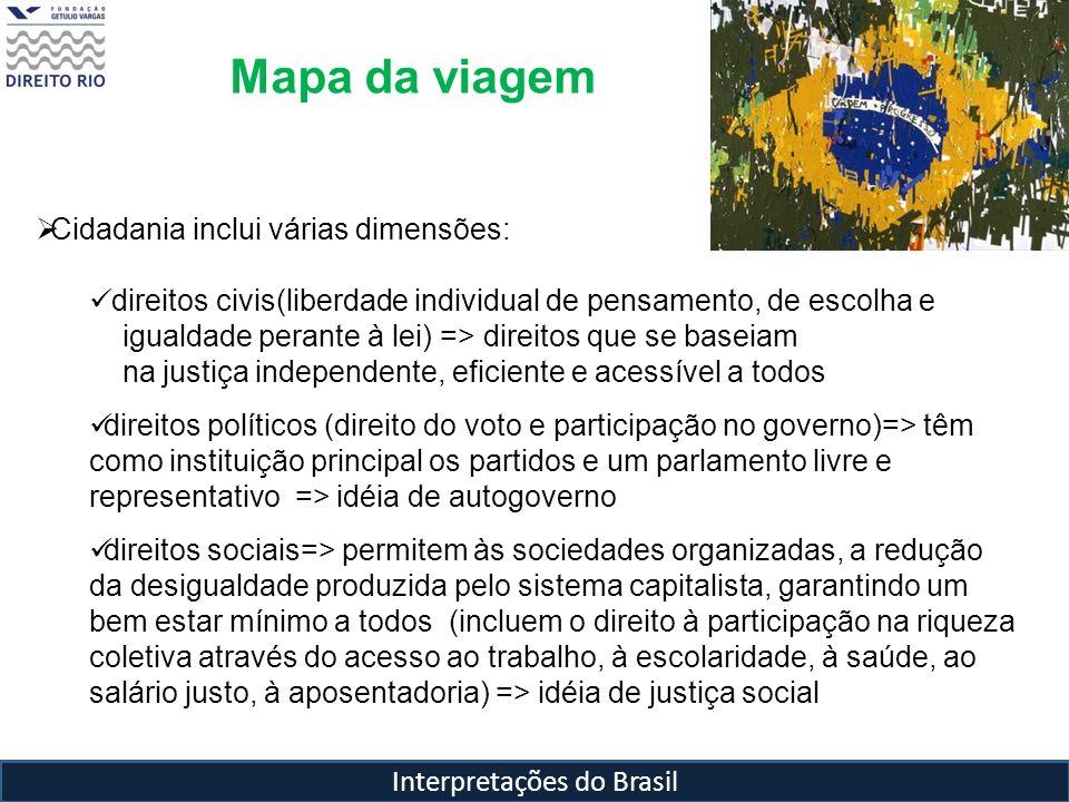 Interpretações do Brasil Mapa da viagem Cidadania inclui várias dimensões: direitos civis(liberdade individual de pensamento, de escolha e igualdade p