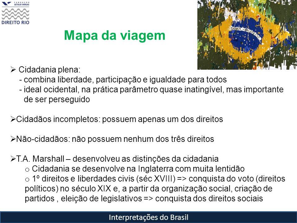 Interpretações do Brasil Mapa da viagem Cidadania plena: - combina liberdade, participação e igualdade para todos - ideal ocidental, na prática parâme