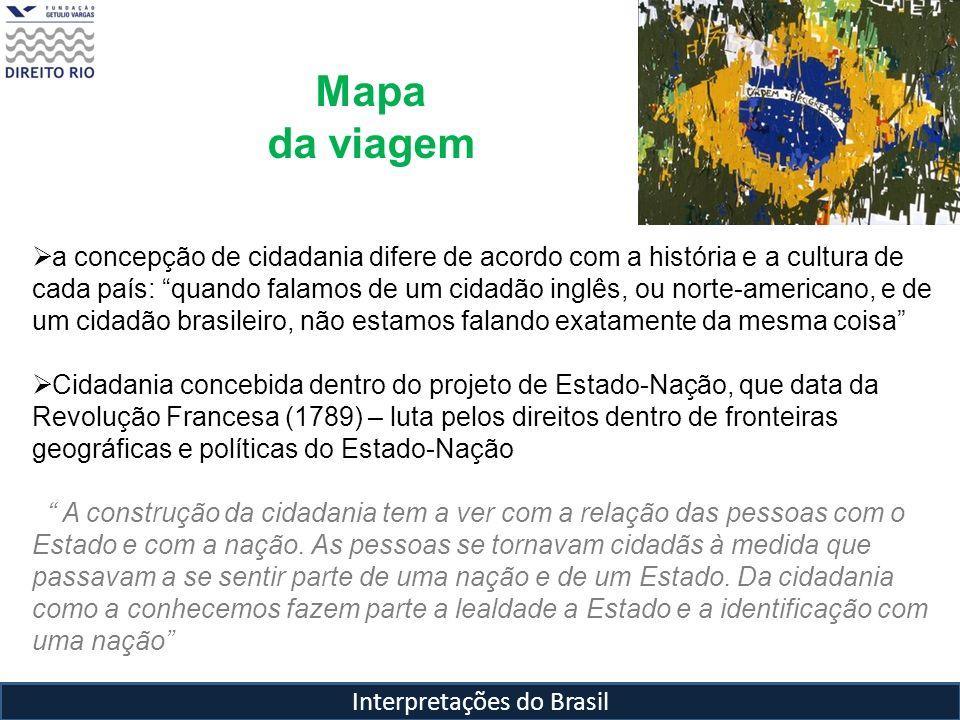 Interpretações do Brasil Mapa da viagem a concepção de cidadania difere de acordo com a história e a cultura de cada país: quando falamos de um cidadã