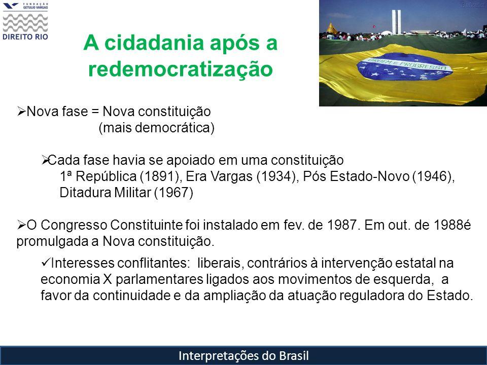 Interpretações do Brasil A cidadania após a redemocratização Nova fase = Nova constituição (mais democrática) Cada fase havia se apoiado em uma consti