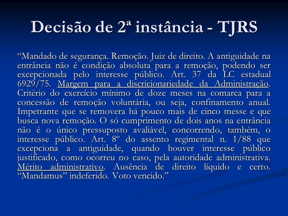 Decisão de 2ª instância - TJRS Mandado de segurança.