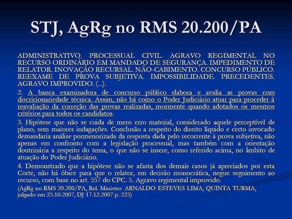 STJ, AgRg no RMS 20.200/PA ADMINISTRATIVO. PROCESSUAL CIVIL.