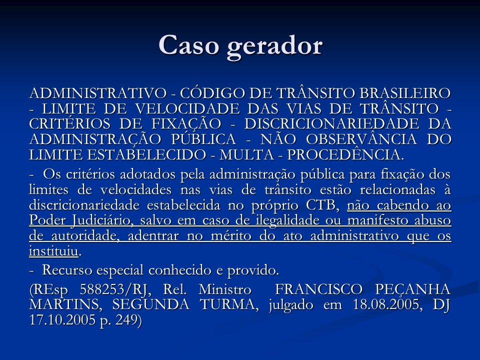 Caso gerador ADMINISTRATIVO - CÓDIGO DE TRÂNSITO BRASILEIRO - LIMITE DE VELOCIDADE DAS VIAS DE TRÂNSITO - CRITÉRIOS DE FIXAÇÃO - DISCRICIONARIEDADE DA ADMINISTRAÇÃO PÚBLICA - NÃO OBSERVÂNCIA DO LIMITE ESTABELECIDO - MULTA - PROCEDÊNCIA.