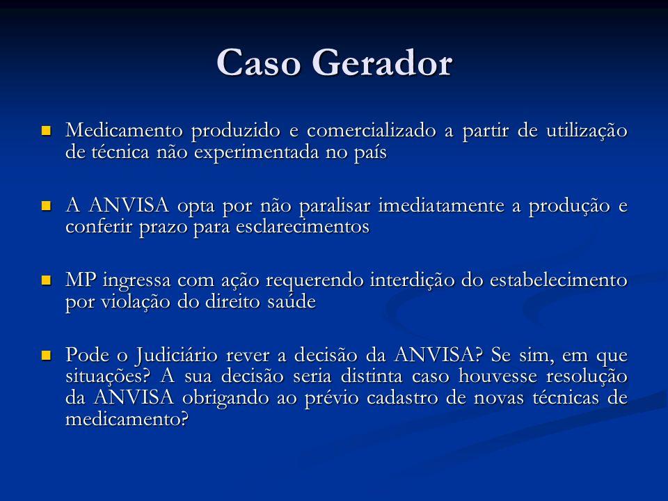 Caso Gerador Medicamento produzido e comercializado a partir de utilização de técnica não experimentada no país Medicamento produzido e comercializado
