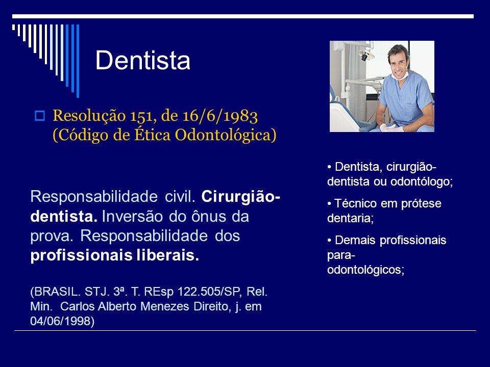 Dentista Resolução 151, de 16/6/1983 (Código de Ética Odontológica) Dentista, cirurgião- dentista ou odontólogo; Técnico em prótese dentaria; Demais p