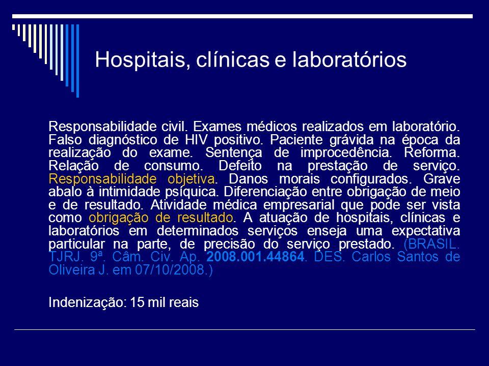 Hospitais, clínicas e laboratórios Responsabilidade civil. Exames médicos realizados em laboratório. Falso diagnóstico de HIV positivo. Paciente grávi